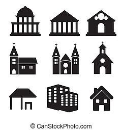épület, tényleges, állam, ikonok, vektor, délkelet