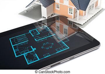 épület, tabletta, digitális
