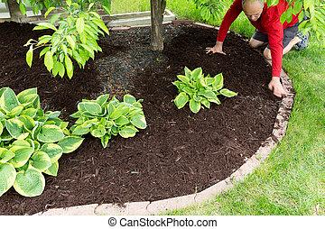 épület, talajt takar, munka, mindenfelé, kertész