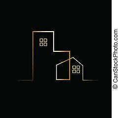 épület, tartózkodási, épület, jel