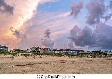 épület, tengerpart, napnyugta