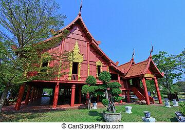 épület, thai ember, thaiföld