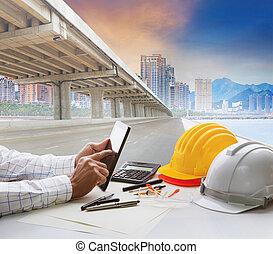 épület, városi, dolgozó, civil, infra, kialakulás, asztal, szerkezet, konstruál