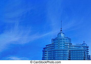 épület, városi, hivatal, felett, kék ég