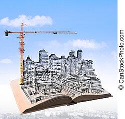 épület, városi, sce, felett, repülés, vázlat, szerkesztés, könyv
