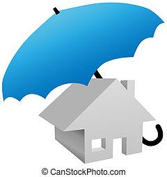 épület, védett, által, biztonság, saját biztosítás, esernyő