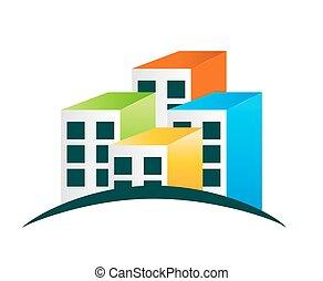épület, vektor, ábra, jel