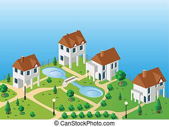épület, vektor, falu