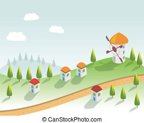 épület, vektor, houses., falu