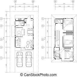 épület, vektor, terv