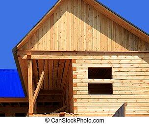 épület, vidéki, szerkesztés, alatt