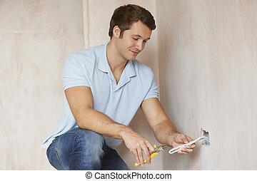 épület, villanyszerelő, konnektor, új, beiktató