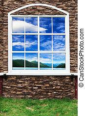 épület, windows, és, ég