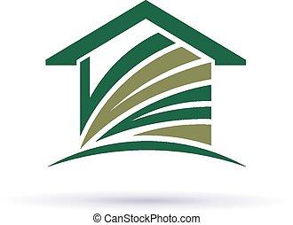 épület, zöld, jel