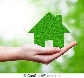 épület, zöld, kéz