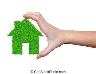 épület, zöld, kézbesít
