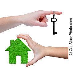 épület, zöld kulcs, kézbesít