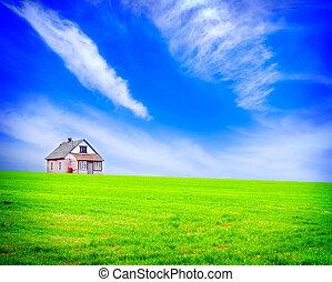 épület, zöld terep, egy