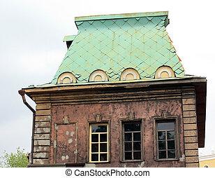 épület, zöld, tető