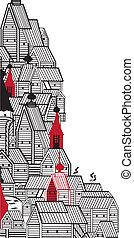 épületek, öreg, keret, forma