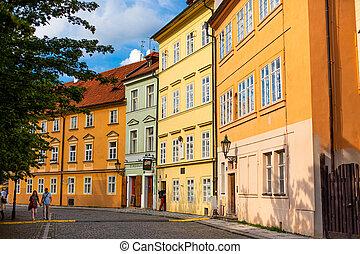 épületek, európa, építészet, város, stones., strago, alacsony, kövezet, prague., utcák, sokszínű, megkövez, öreg