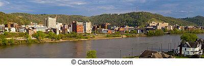 épületek, folyó, nyugat virginia, meanders, gondolkodás, ohio, kerekezés