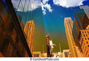 épületek, gondolkodások, alatt, manhattan, új york város