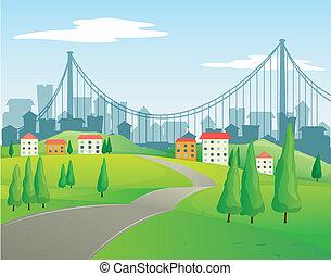 épületek, haladó, út, keskeny