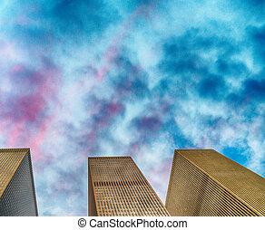 épületek, közül, manhattan, -, új york város, felhőkarcoló