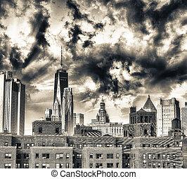 épületek, közül, manhattan, új york város