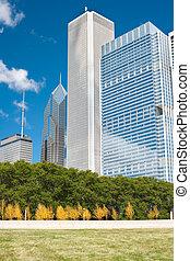 épületek, közül, város, közül, chicago
