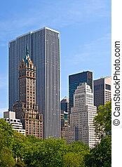 épületek, központi, város, usa, liget, york, új, látott