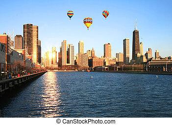épületek, sokemeletes, chicago