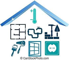 épületek, szerkesztés, pictogram