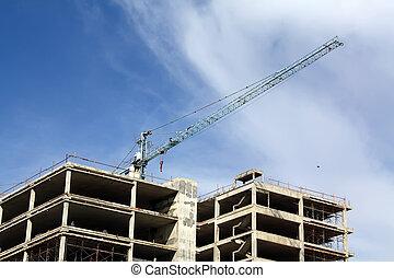 épületek, vannak, épít