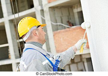 épülethomlokzat, építő, munka, szobafestő