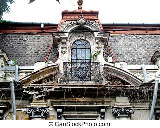 épülethomlokzat, épület, öreg, erkély