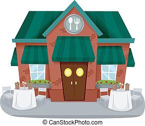 épülethomlokzat, étterem