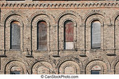 épülethomlokzat, ablak, öreg