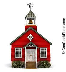 épülethomlokzat, iskolaépület, piros