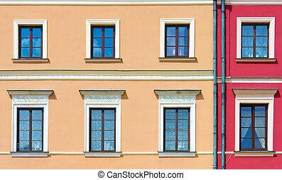 épülethomlokzat, közül, egy, épület, noha, windows