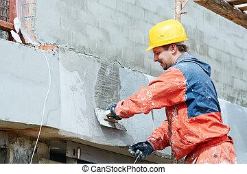 épülethomlokzat, munka, kőműves