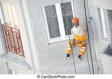 épülethomlokzat, munka, munkás, kőműves