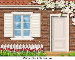épülethomlokzat, tulipánok, ablak, tégla, kerítés