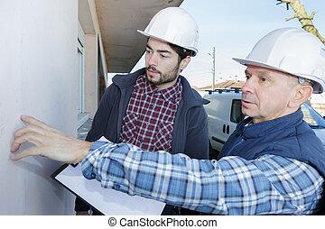 épülethomlokzat, vakolat, munka, munkás