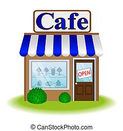 épülethomlokzat, vektor, kávéház, ikon
