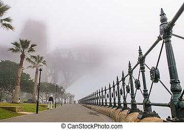 épais, brouillard, dans, les, matin, à, pont port sydney