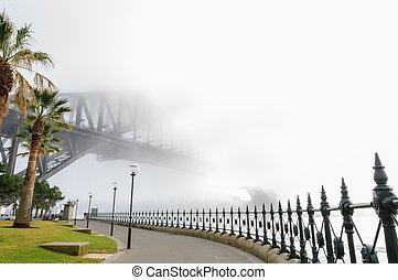 épais, brouillard, dans, les, matin, à, sydney