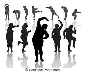 épais, femmes, 12, figures