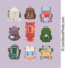 épais, machette, vecteur, camping, aventure, set., coloré, corde, tourisme, sacs dos, voyage, tissus, pot, grande tasse, jungle., cartoon., choses, actif, plus, randonnée, confortable, dépassement, équipement